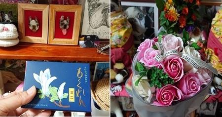 いただいたお線香と花.jpg